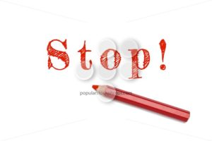 Stop sketch red pencil - Popular Stock Photos