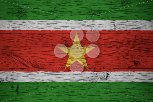 Suriname national flag painted old oak wood - Popular Stock Photos