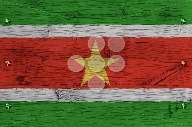 Suriname national flag painted old oak wood fastened – Popular Stock Photos
