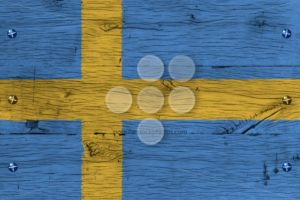 Sweden national flag painted old oak wood fastened - Popular Stock Photos