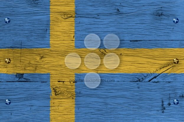 Sweden national flag painted old oak wood fastened – Popular Stock Photos