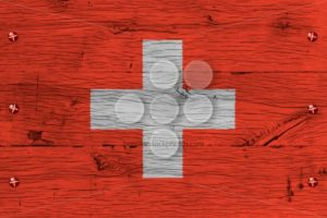 Switzerland national flag painted old oak wood fastened - Popular Stock Photos