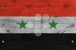 Syria national flag painted old oak wood fastened - Popular Stock Photos