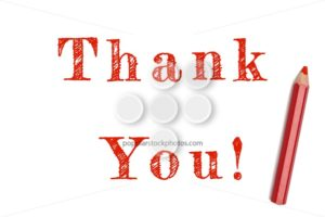 Thank you sketch red pencil - Popular Stock Photos