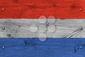 The Netherlands national flag painted old oak wood fastened - Popular Stock Photos