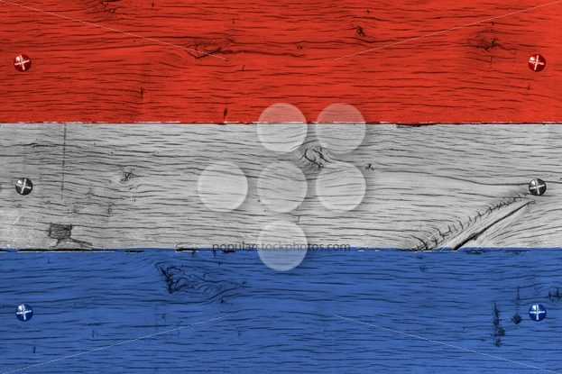 The Netherlands national flag painted old oak wood fastened – Popular Stock Photos
