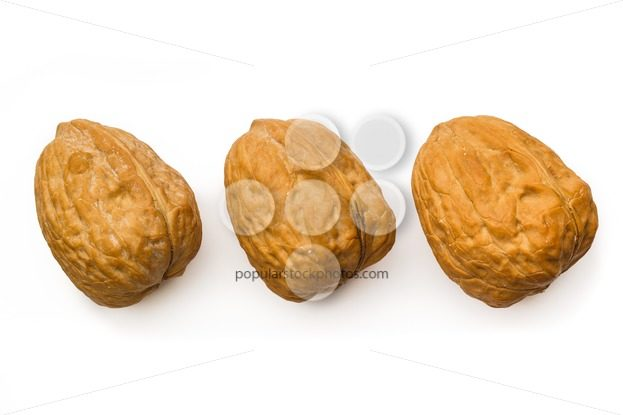 Three walnut isolated white top – Popular Stock Photos