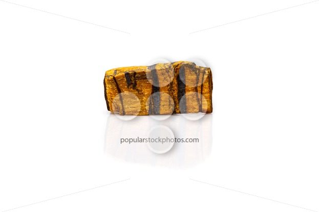 Tiger's eye gem stone rough isolated white – Popular Stock Photos