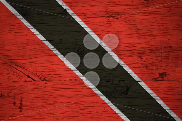 Trinidad Tobago national flag painted old oak wood - Popular Stock Photos