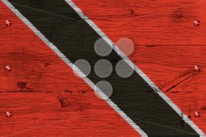 Trinidad Tobago national flag painted old oak wood fastened - Popular Stock Photos