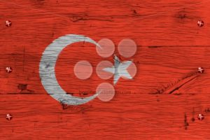 Turkey national flag painted old oak wood fastened - Popular Stock Photos