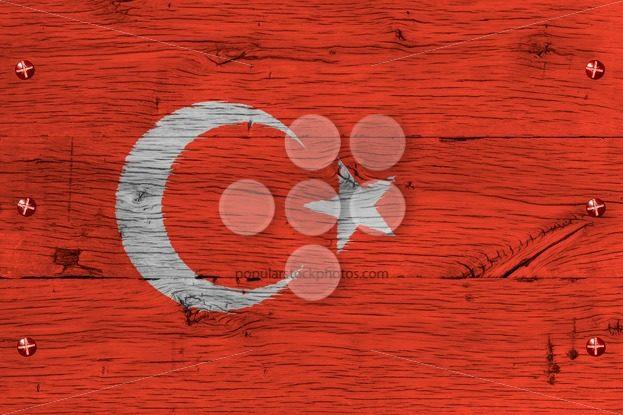 Turkey national flag painted old oak wood fastened – Popular Stock Photos