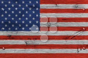 USA American national flag painted old oak wood fastened - Popular Stock Photos