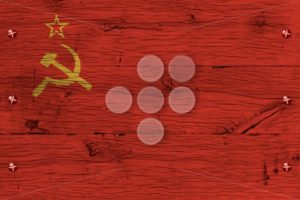 USSR historic flag painted old oak wood fastened - Popular Stock Photos