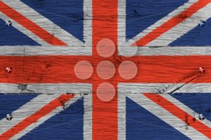 United Kingdom national flag painted old oak wood fastened - Popular Stock Photos