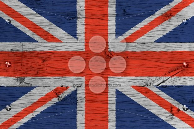 United Kingdom national flag painted old oak wood fastened – Popular Stock Photos