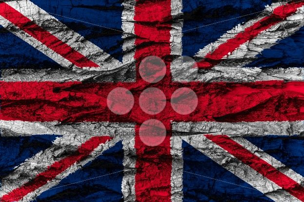 United Kingdom national flag painted wooden bark tree – Popular Stock Photos