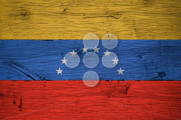 Venezuela national flag painted old oak wood - Popular Stock Photos