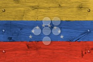Venezuela national flag painted old oak wood fastened - Popular Stock Photos