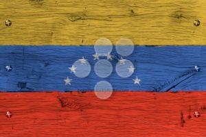 Venezuela national flag painted old oak wood fastened - Popular Stock Photos