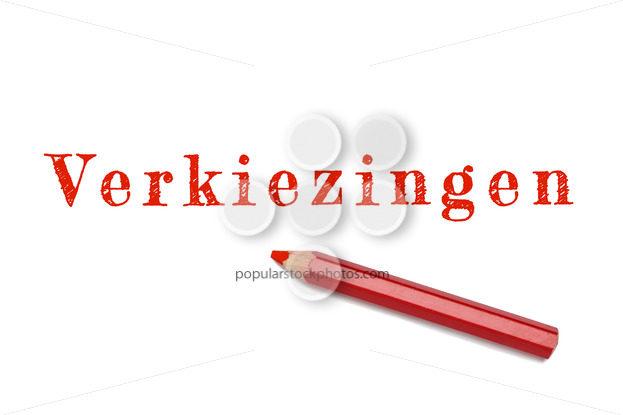 Verkiezingen text sketch red pencil - Popular Stock Photos