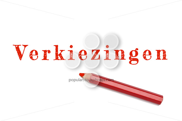 Verkiezingen text sketch red pencil - Popular Stock Photos