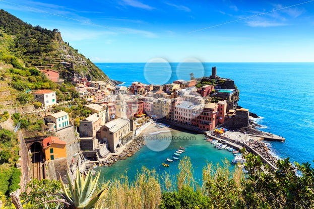 Vernazza cinque terre Italy with railway - Popular Stock Photos