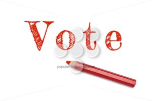 Vote text sketch red pencil - Popular Stock Photos