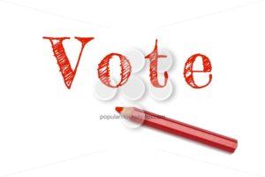 Vote text sketch red pencil - Popular Stock Photos