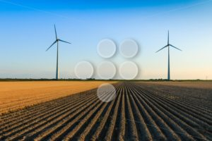 Windmills at farmer fields - Popular Stock Photos