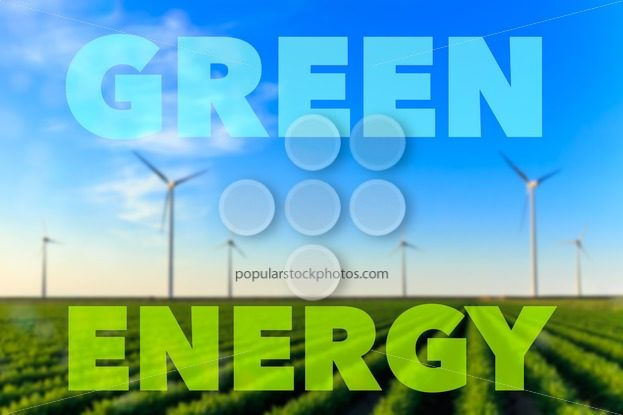 Windmills field crops green energy text – Popular Stock Photos