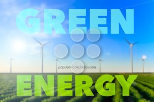 Windmills field crops green energy text flare - Popular Stock Photos