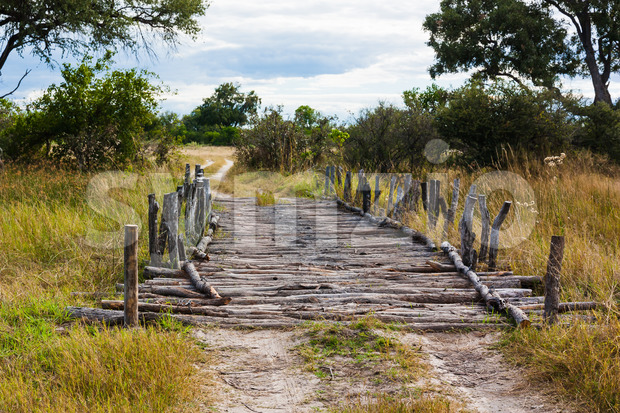 Old fashioned wooden bridge Stock Photo