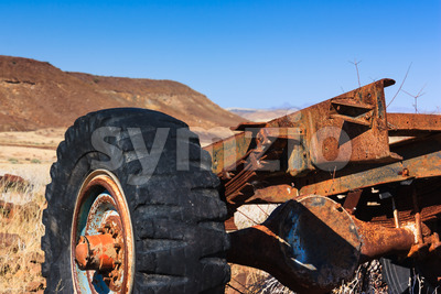 Close up car wreck desert Stock Photo