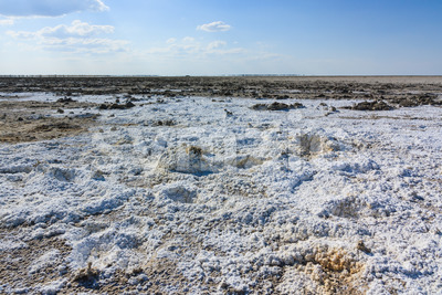 Endless salt pan Botswana, Kubu Island, Africa Stock Photo