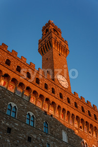 Palazzo Vecchio tower in the evening sun Florence Stock Photo