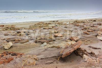 Rocky shore skeleton coast Namibia Stock Photo