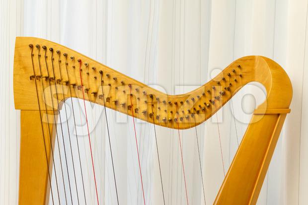 Celtic harp close-up top part Stock Photo