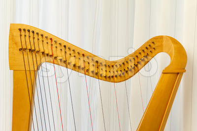 Celtic harp close-up top part Stock Photo