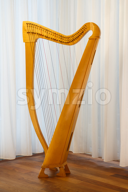 Celtic harp with strings standing Stock Photo