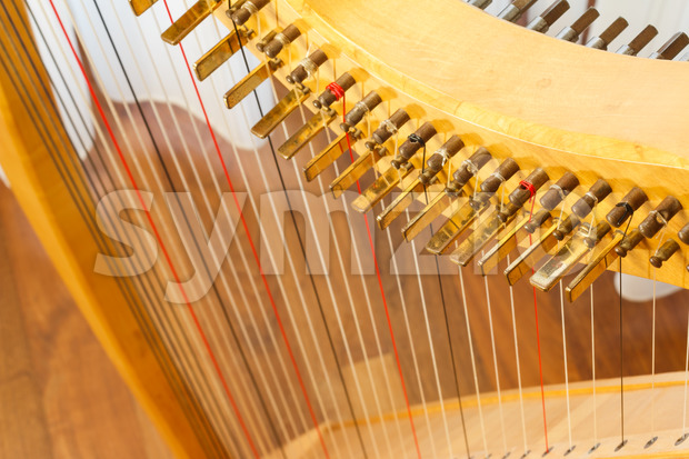 Celtic harp view from top Stock Photo