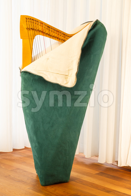 Celtic harp unpacking Stock Photo