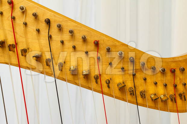 Celtic harp close-up of strings Stock Photo