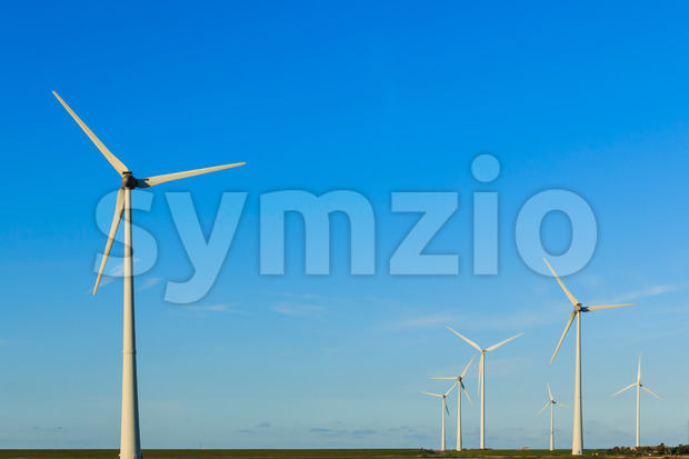 Windmills in a group Stock Photo