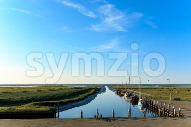 Smallest sea harbor Netherlands, Noordpolderzijl Stock Photo