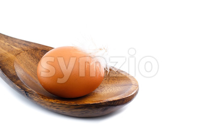 Close up egg with feather spoon Stock Photo