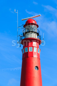 Red lighthouse close-up Stock Photo