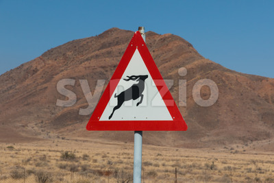 Roadsign antelope crossing in africa Stock Photo
