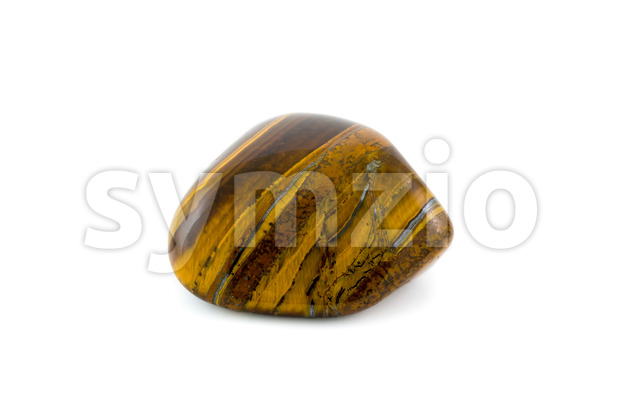 Tiger's eye detailed adorable gemstone close up white background Stock Photo