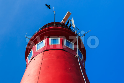 Red lighthouse top Stock Photo